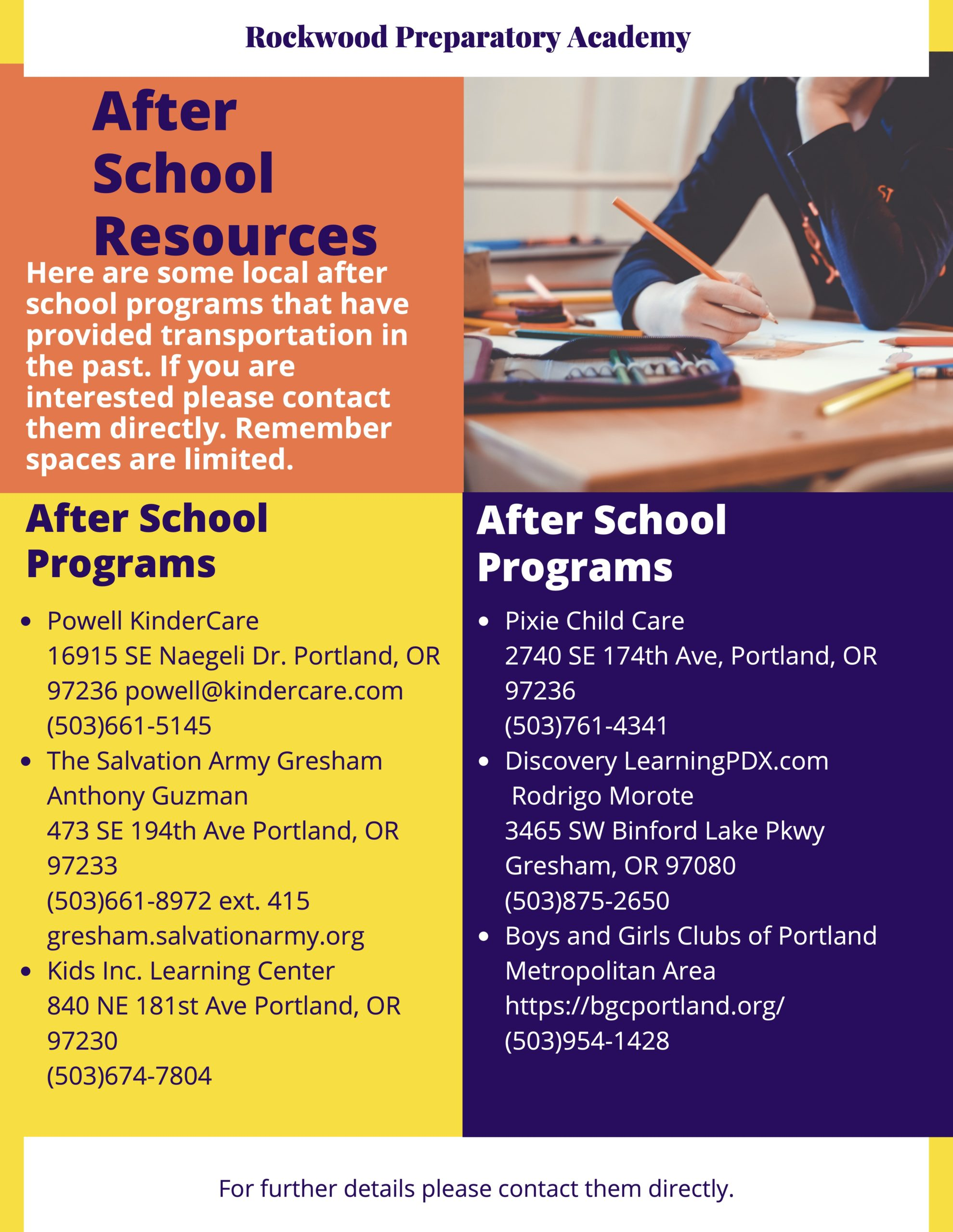 After-school resources Flyer